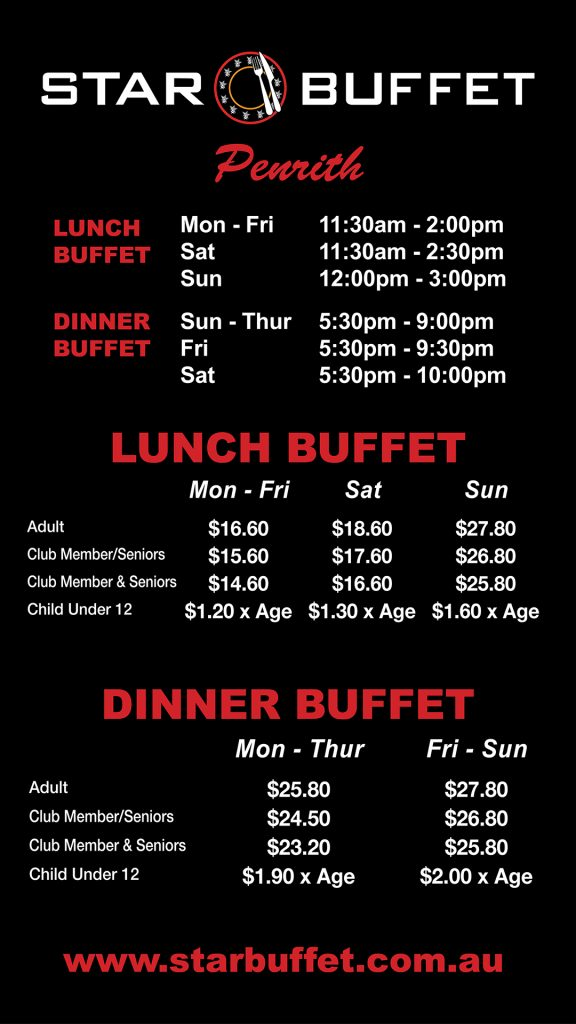 Star Buffet price list 2019