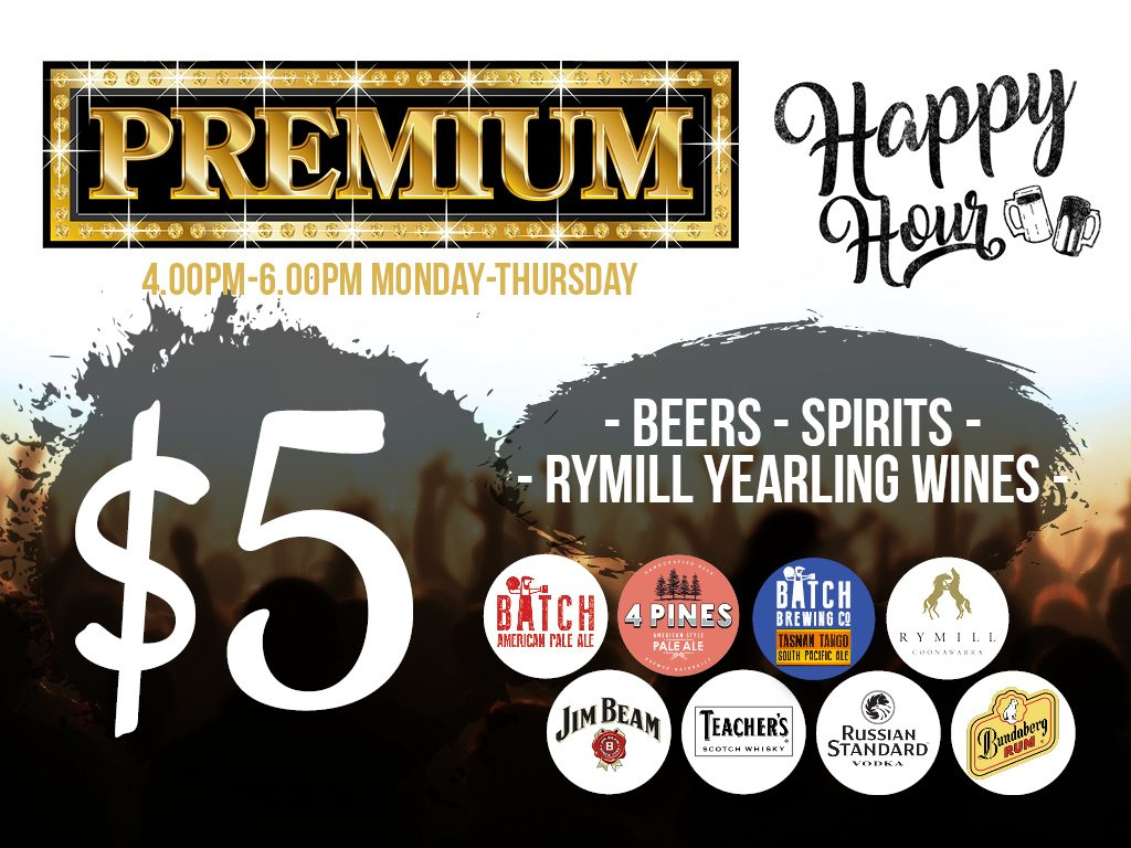 Premium Happy Hour at Waves Bar -  Penrith RSL