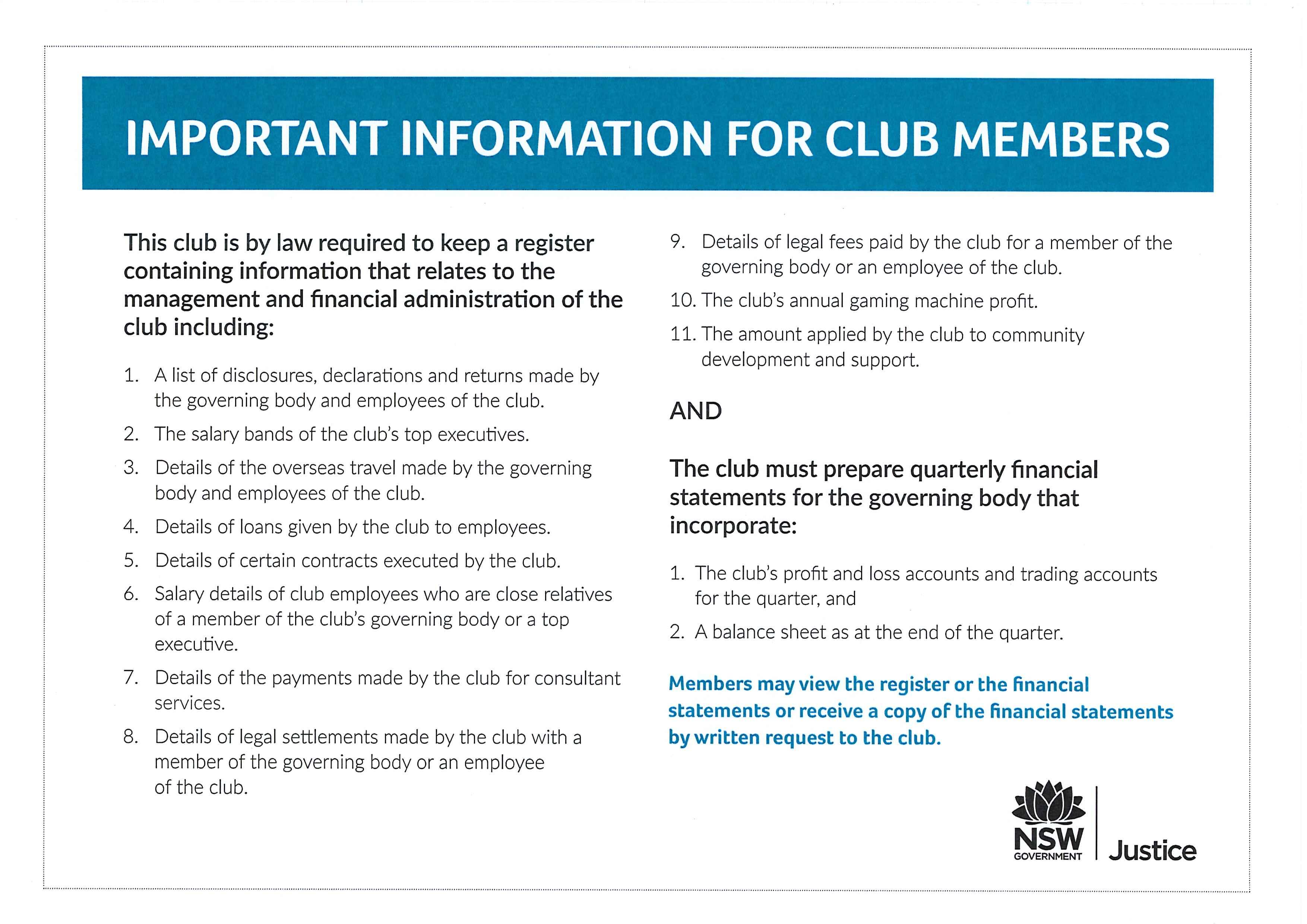 RSL Club policies